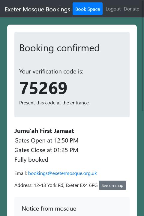 Booking confirmed